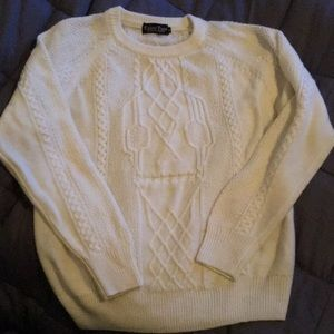 Sweaters - Cream Knitted Skull Sweater Size M